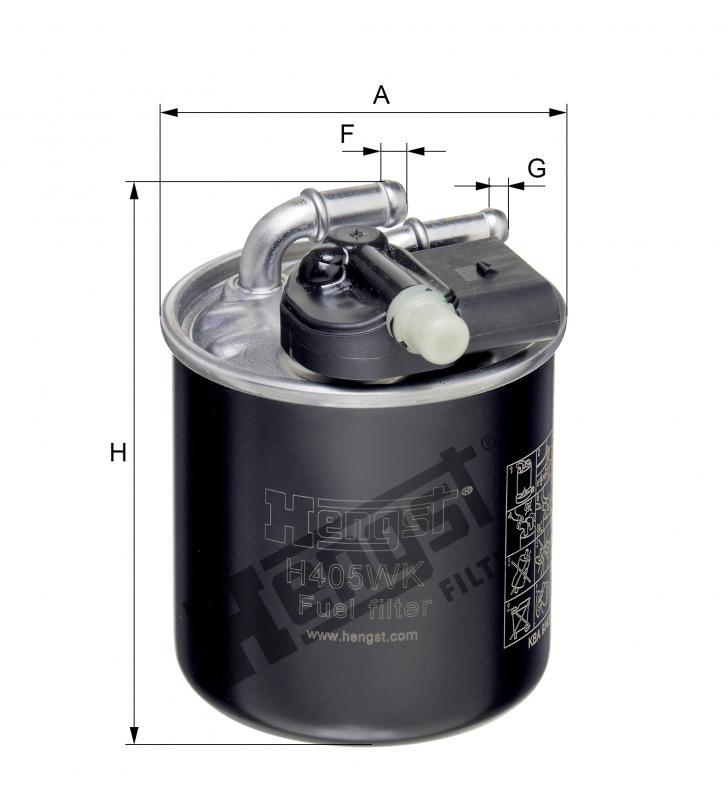 HENGST FILTER H405WK Фильтр топл.MB M642/646/651
